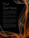 Prospecto, cartel o aviador con el fondo negro y el color anaranjado Imagen de archivo libre de regalías