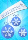 Prospecto de la Navidad o plantilla moderno de la tarjeta de felicitaciones con tres bolas azules stock de ilustración