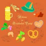 Prospecto de Oktoberfest con los objetos simbólicos Imagen de archivo