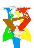 Prospecto, folleto, diseño material del mapa del mundo del folleto stock de ilustración