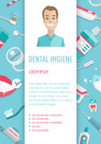 Prospecto infographic A4 de la higiene médica de los dientes ilustración del vector