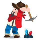 Prospector, cowboy, wild west illustration. Cartoon character of a man in a hat with a pickaxe.  vector illustration