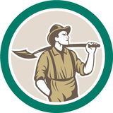 Prospector Miner With Shovel Circle Retro Stock Photography