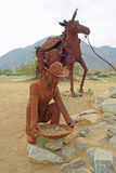 Prospector & Pack Mule - Metal Sculpture Royalty Free Stock Image