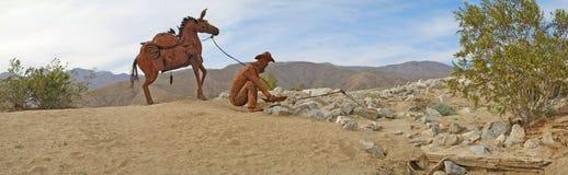 Prospector & Pack Mule Panorama - Metal Sculpture Royalty Free Stock Photos