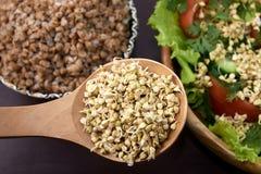Prospects buckwheat. Cooked porridge. Fresh vegetable salad. Dark background.  Vegetarianism Royalty Free Stock Images