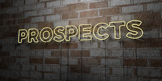PROSPECTS - Glowing Neon Sign on stonework wall - 3D rendered royalty free stock illustration Royalty Free Stock Image