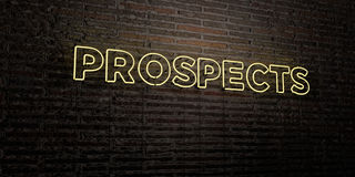 PROSPECTS -Realistic Neon Sign on Brick Wall background - 3D rendered royalty free stock image Stock Image