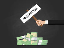 Prospectus sign board on top of heap of money illustration vector Royalty Free Stock Photo