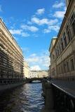 Prospektera gatan, utsikten av kanalen arkivfoto