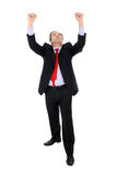 Prosper business man gesturing with his arms. Isolated on white stock images
