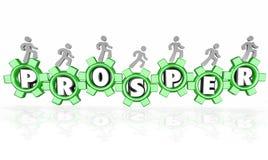 Prosper Word Gears Earning Money-Bedrijfzaken die aan Suc werken Stock Afbeeldingen