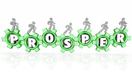 Prosper Word Gears Earning Money Company Business Working to Suc. Prosper word in 3d letters within gears and a team of people working together to increase a Stock Images