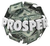 Prospera la palla dei contanti dei soldi di parola 3d migliora i guadagni di reddito Fotografia Stock