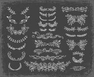 Prospere el sistema de los divisores del texto del vector Guirnaldas florales del vintage Clipart exhausto de la mano decorativa ilustración del vector