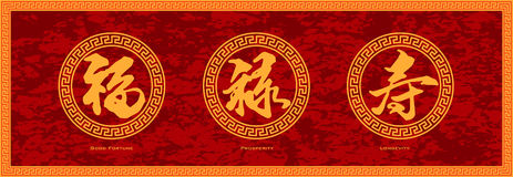 Prosperidad china de la buena fortuna de la caligrafía y vector rojo del fondo de la longevidad Fotografía de archivo libre de regalías