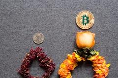 Prosperidad de Bitcoin y la disminución del dólar Foto de archivo libre de regalías