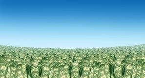 Prosperità di paesaggio dei soldi nell'orizzonte Immagini Stock Libere da Diritti