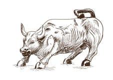 Prosperità 7 settembre 2016 in New York Lo schizzo disegnato a mano del toro di carico del punto di riferimento in Lower Manhatta illustrazione di stock