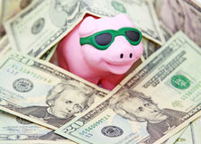 Prosperity. Pink piggy bank wearing sunglasses smiling emerging out of US dollar bills. A concept of prosperity stock photos