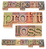 Prosperity and bankruptcy. Prosperity, profit, loss and bankruptcy -financial concept  - a collage of isolated words in vintage wood letterpress type Royalty Free Stock Images