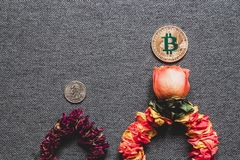 Prosperity of Bitcoin and the death of dollar, concept. Prosperity of Bitcoin and the death of dollar, the concept of bitcoin`s victory over the dollar stock photos