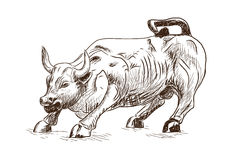 Prosperity September 7, 2016 in New York City. Hand drawn sketch of the landmark Charging Bull in Lower Manhattan represents aggre Stock Photography