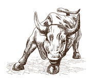Prosperity September 7, 2016 in New York City. Hand drawn sketch of the landmark Charging Bull in Lower Manhattan represents aggre Stock Photos