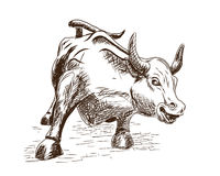 Prosperity September 7, 2016 in New York City. Hand drawn sketch of the landmark Charging Bull in Lower Manhattan represents aggre Stock Images