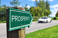 PROSPERITY sign. Against road and sportive car stock images