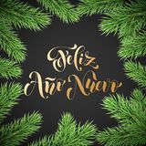 Prospero Ano Nuevo Spanish Happy New Year golden calligraphy hand drawn text on fir branch wreath ornament for greeting card backg. Round template. Vector Royalty Free Stock Images