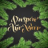 Prospero Ano Nuevo Spanish Happy New Year golden calligraphy hand drawn text on wreath ornament for greeting card background templ. Ate. Vector Christmas tree Stock Photo
