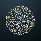 Prospero Ano Nuevo Spanish Happy New Year Navidad calligraphy lettering, golden snowflake star pattern decoration on white backgro. Und for greeting card. Vector Royalty Free Stock Photography