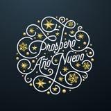 Prospero Ano Nuevo Spanish Happy New Year Navidad kalligrafibokstäver, guld- garnering för snöflingastjärnamodell på den vita bac royaltyfri illustrationer