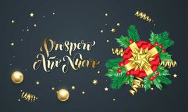 Prospero Ano Nuevo Spanish New Year golden decoration and gold font calligraphy greeting card design. Vector Christmas tree wreath. Decoration, New Year holiday Stock Photography