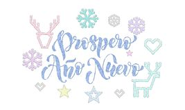 Prospero Ano Nuevo Spanish New Year knitted calligraphy font decoration for holiday greeting card design. Vector Christmas deer, s. Nowflake decoration royalty free illustration