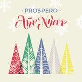 Prospero Ano Nuevo Spanish New Year winter background greeting card. Spanish New Year Ano Nuevo winter background greeting card. Winter forest background with Royalty Free Stock Image