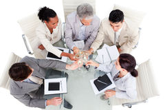 Prosperous business team celebrating a success Royalty Free Stock Photo