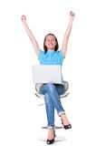 Prosperous girl raising hands up Stock Photography