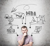 A prosperous man is thinking about MBA degree. Educational chart is drawn behind him. A concept of further business educatio Royalty Free Stock Images