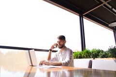 Prosperous sales manager reading documents, using laptop at tabl Stock Photography