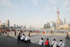 The prosperous Shanghai Bund in holiday Stock Images