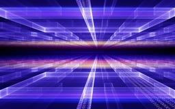Prospettiva cubica con flusso di dati di codice binario Fotografia Stock