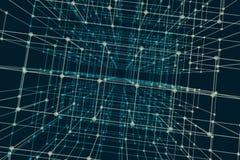 Prospettiva cubica con flusso di dati di codice binario Fondo urbano digitale astratto Immagine Stock