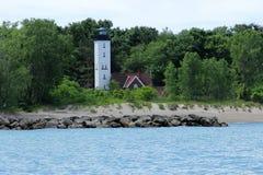 Prospettiva della casa galleggiante della luce dell'isola di Presuqe Immagini Stock Libere da Diritti