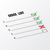 Prospettiva della lista di controllo Fotografie Stock