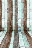 Prospettiva della stanza, parete di legno di vecchio lerciume Immagini Stock