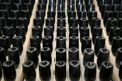 Prospettiva delle bottiglie di vino Immagine Stock