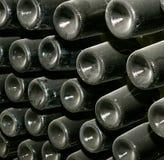 Prospettiva delle bottiglie di vino Fotografia Stock