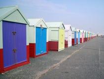 Prospettiva delle capanne della spiaggia Immagini Stock Libere da Diritti